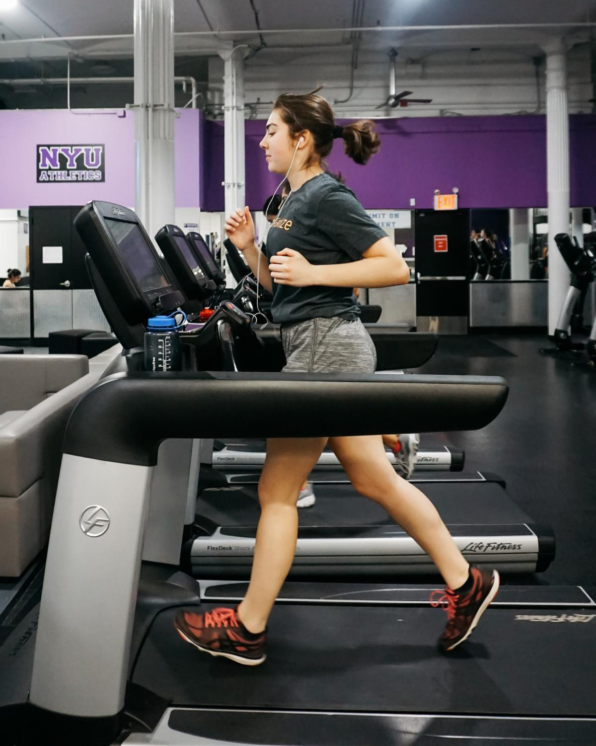 First-year Tisch student Genevieve Goodman gets in a workout at 404 Fitness after a day of classes.