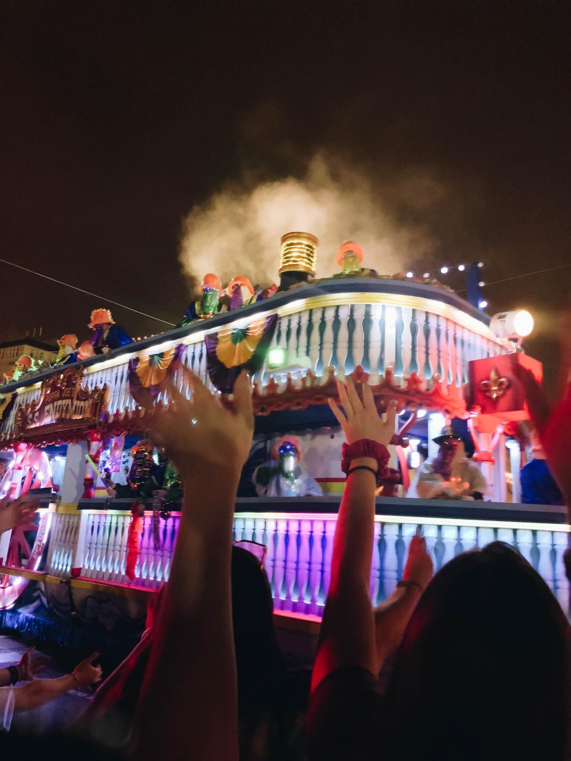 Mardi Gras celebrations in New Orleans, Louisiana, include many colorful costumes and parades.