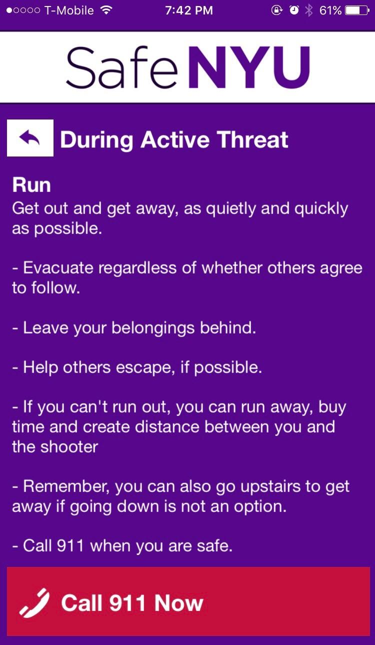 A screenshot from the Safe NYU app.