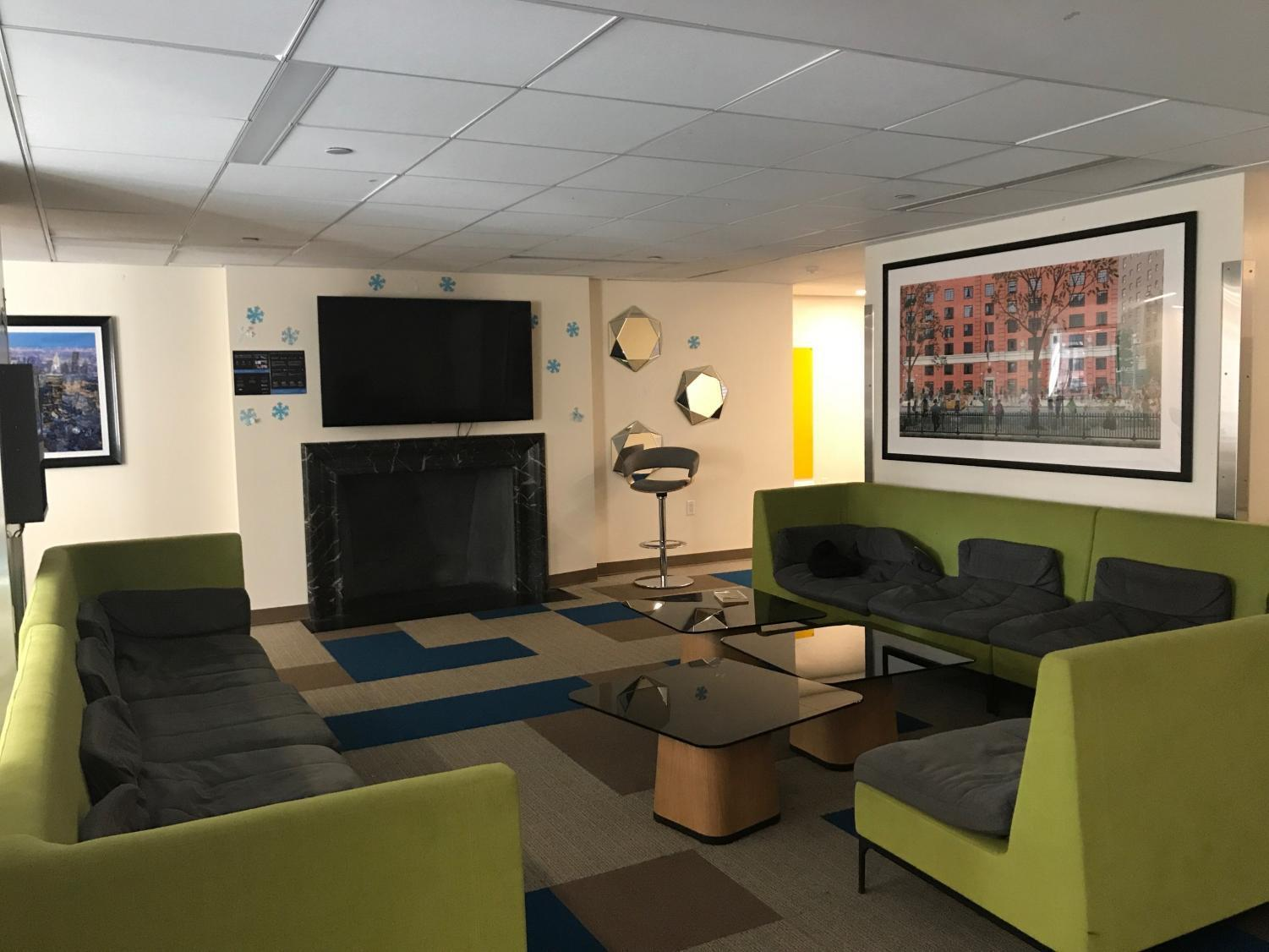 The second floor lounge in Lipton Residence Hall