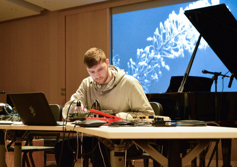 A Steinhardt student performing at Bleep Bloop.