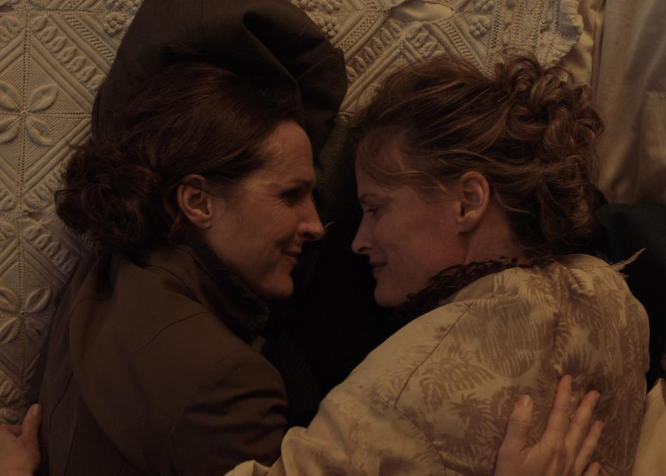 """A scene from Madeleine Olnek's new film """"Wild Nights with Emily,"""" starring Molly Shannon and Susan Ziegler as Emily and Susan, respectively."""