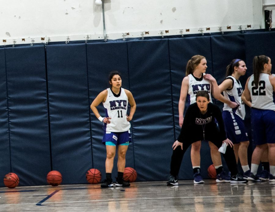 Lauren+Hall-Gregory%2C+the+women%E2%80%99s+basketball+team%E2%80%99s+head+coach%2C+during+a+practice+on+Feb.+1.+She+recently+earned+her+100th+win%2C+while+the+team+finished+runner-up+in+the+ECAC+tournament.
