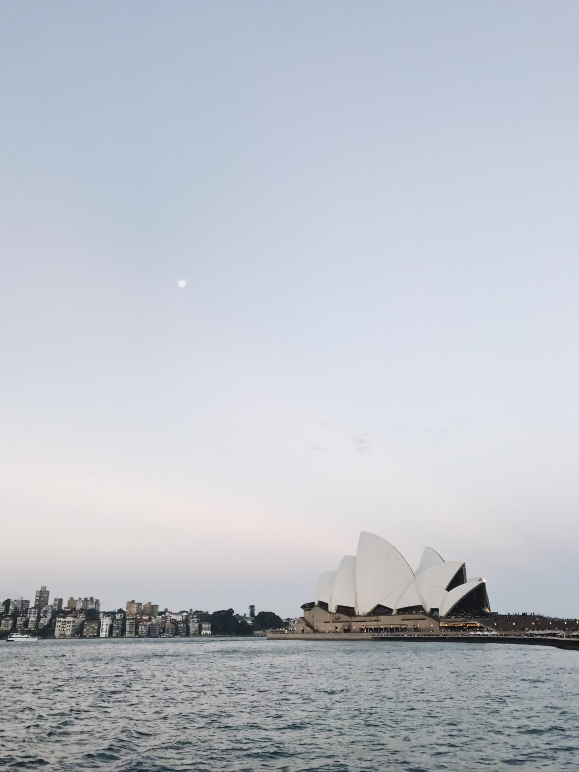 A view of the Sydney Opera House from the Manly Ferry at Circular Quay in downtown Sydney.