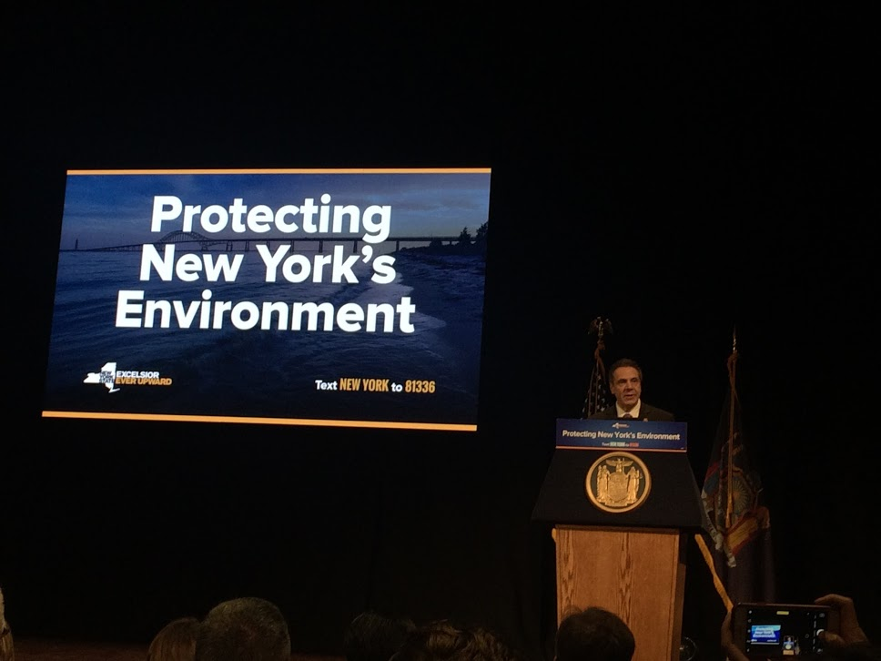 The first slide of the presentation about protecting New York's environment.