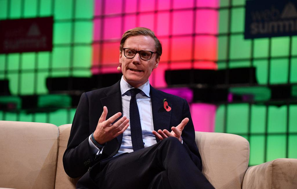 Alexander Nix, CEO of Cambridge Analytica, speaking at Web Summit 2017 in Lisbon. Nix and Cambridge Analytica have come under controversy for unethical data mining and usage of as many as 50 million Facebook users