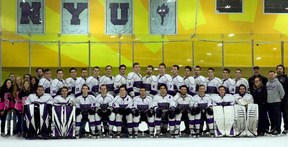 Team photo of the 2017-2018 hockey team.