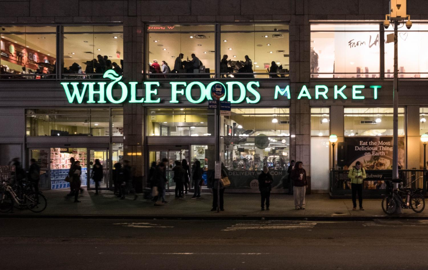 Whole Foods Market on Union Square is a traditional grocery store that offers the option to shop for groceries online through Amazon Prime Now.