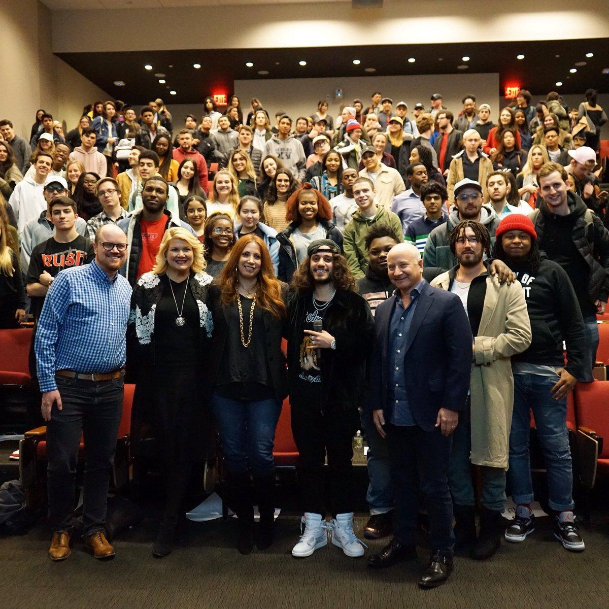 Students and faculty who attended Steinhardt's Q&A with DIY rapper Russ pose for a photo following the one-hour session.