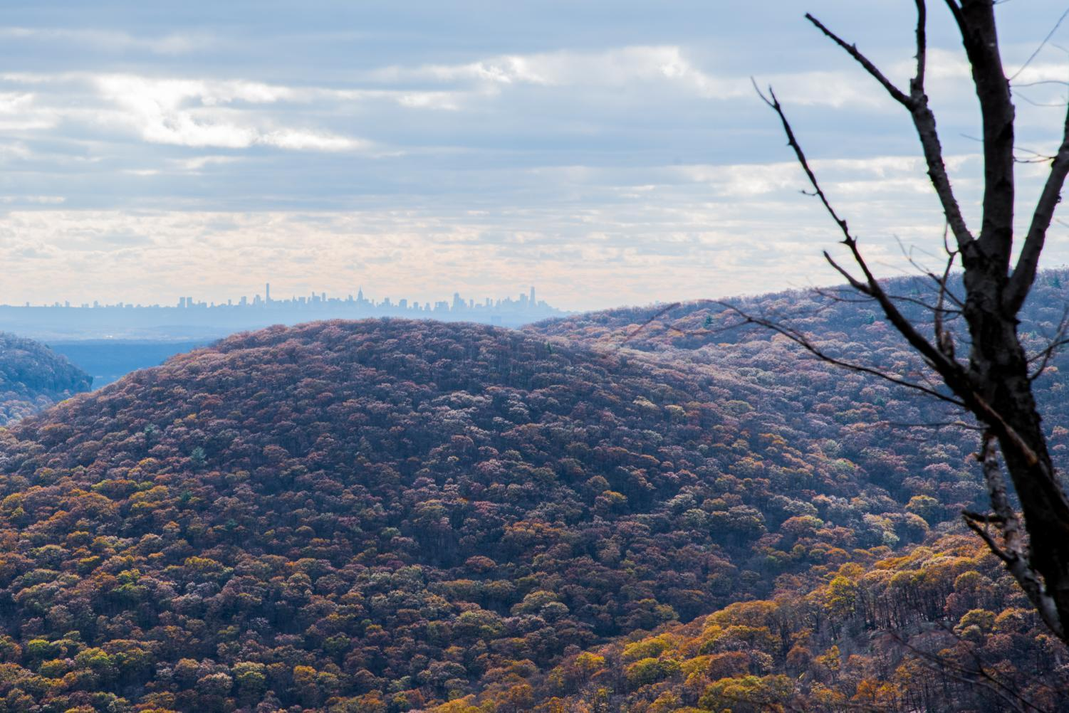 From atop Bear Mountain, less than two hours away from New York City by train, hikers can make out the Manhattan skyline.