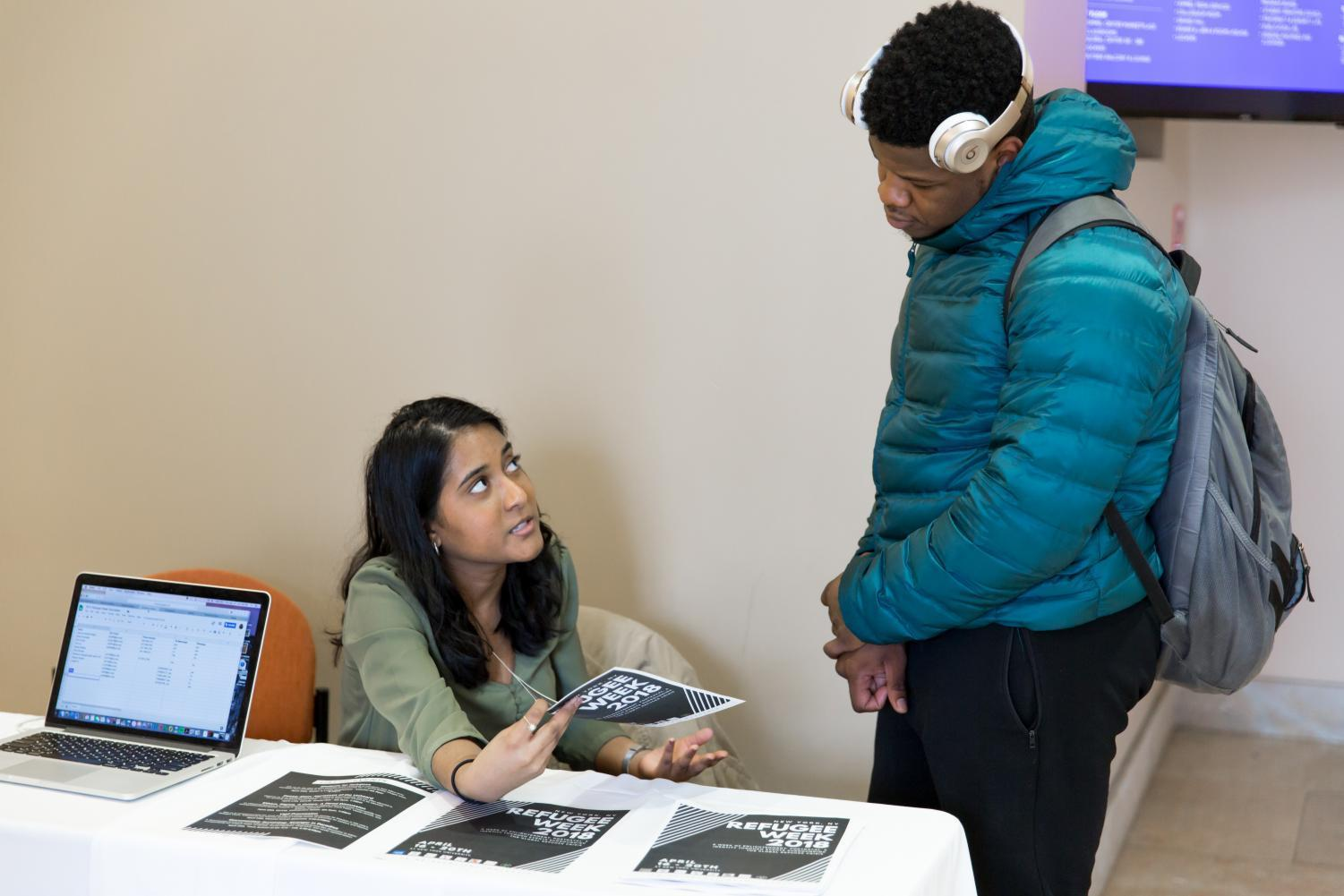 An NYU Student tables for Refugee Week 2018.