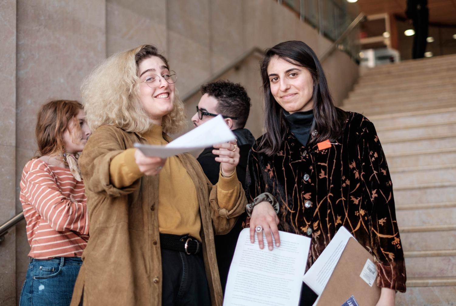 SLAM and NYU Divest protestors handing out informational flyers while occupying Kimmel on Apr. 9 2018.