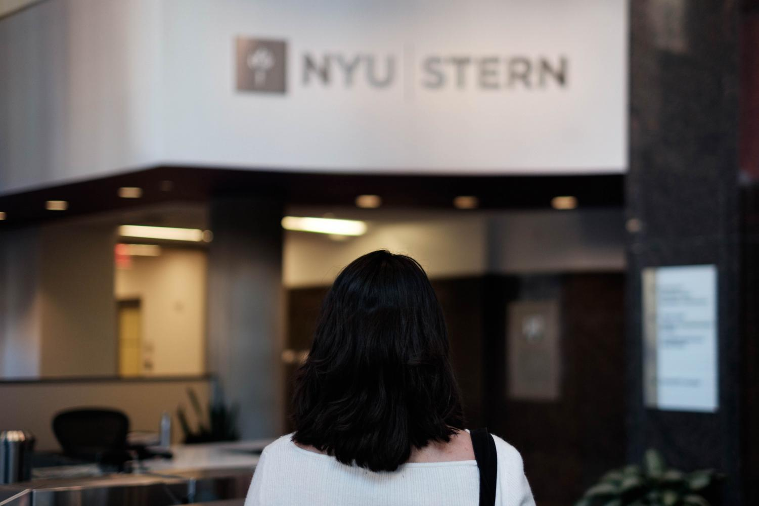 A Muslim student standing in the lobby of the Henry Kaufman Management Center. Stern has recently gained attention from the larger NYU community due to instances of Islamophobia and discrimination.