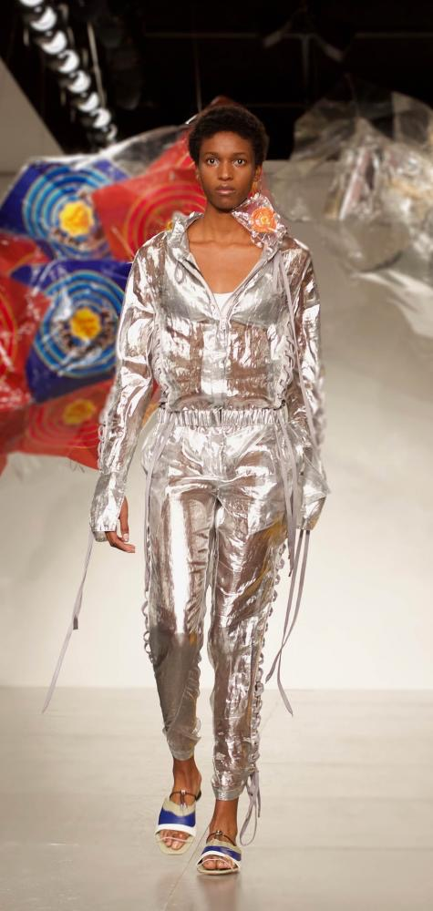 An example of intergalactic fashion fros Fyodar Golan's show at Spring/Summer 2018 in London Fashion Week.