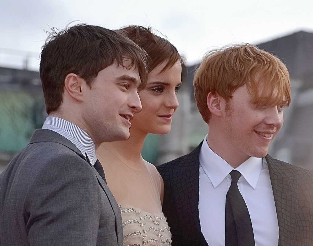 Harry Potter stars Daniel Radcliffe, Emma Watson, and Rupert Grint in 2011.