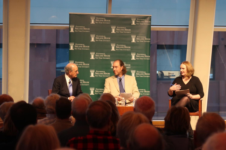 From left to right: Senator George Mitchell, Tom Hull and Miriam Nyhan Grey discuss Irish politics at NYU.