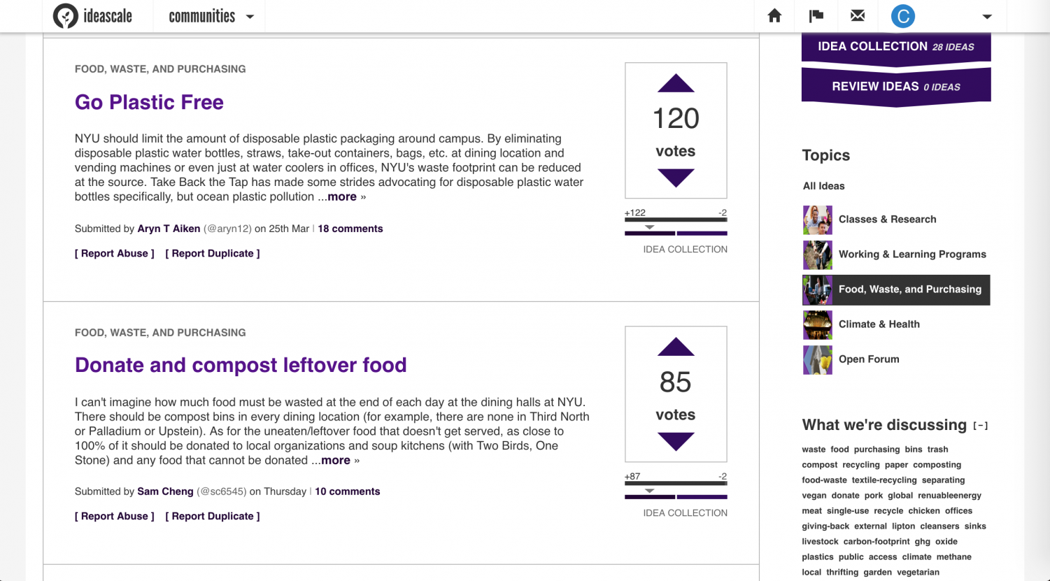 A screenshot of the new Sustainability at NYU forum.