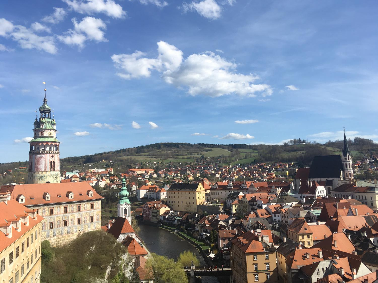 Old Town as seen from a lookout point in Český Krumlov.