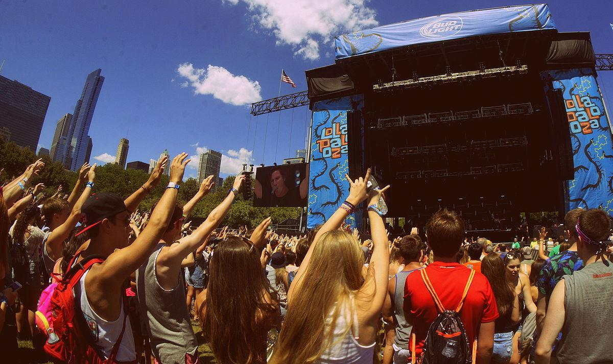 The crowd at Lollapalooza in Grant Park, Chicago.