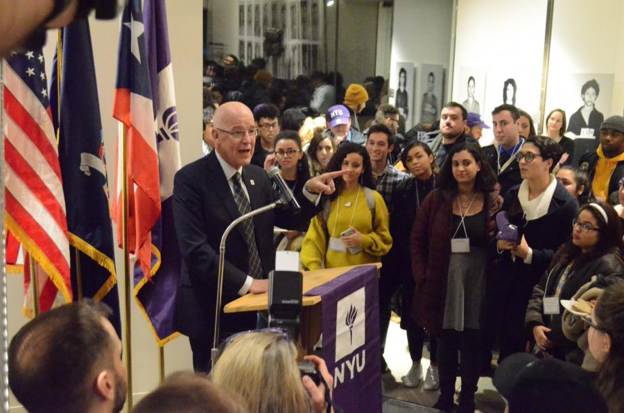 NYU+President+Hamilton+speaking+at+the+welcome+reception+for+the+students+from+Puerto+Rico+on+January+25th%2C+2018.+A+number+of+these+students+are+now+asking+Hamilton+to+extend+the+program.