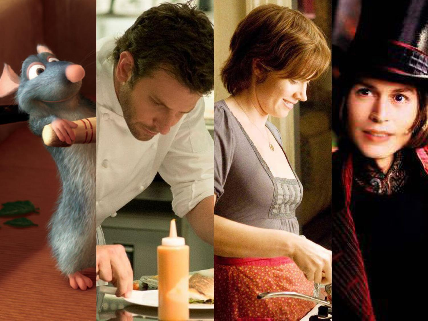 "Left to right: Scenes from the movies ""Ratatouille"", ""Burnt,"" ""Julie and Julia"" and ""Charlie and the Chocolate Factory."""