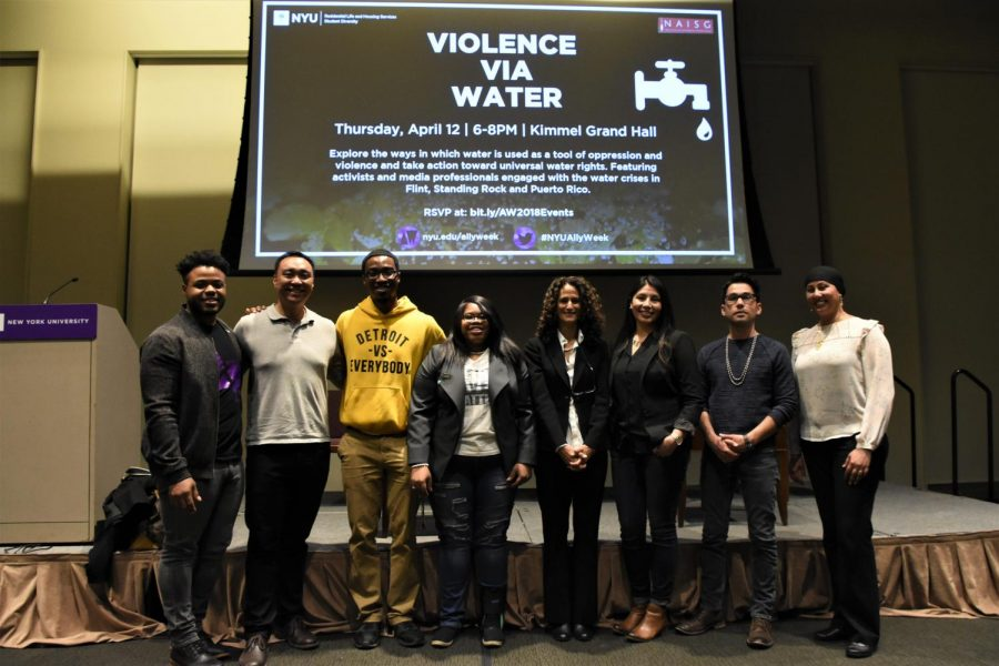 The+panelists+at+the+Violence+Via+Water+event+in+Kimmel+Grand+Hall+pose+for+a+photo.