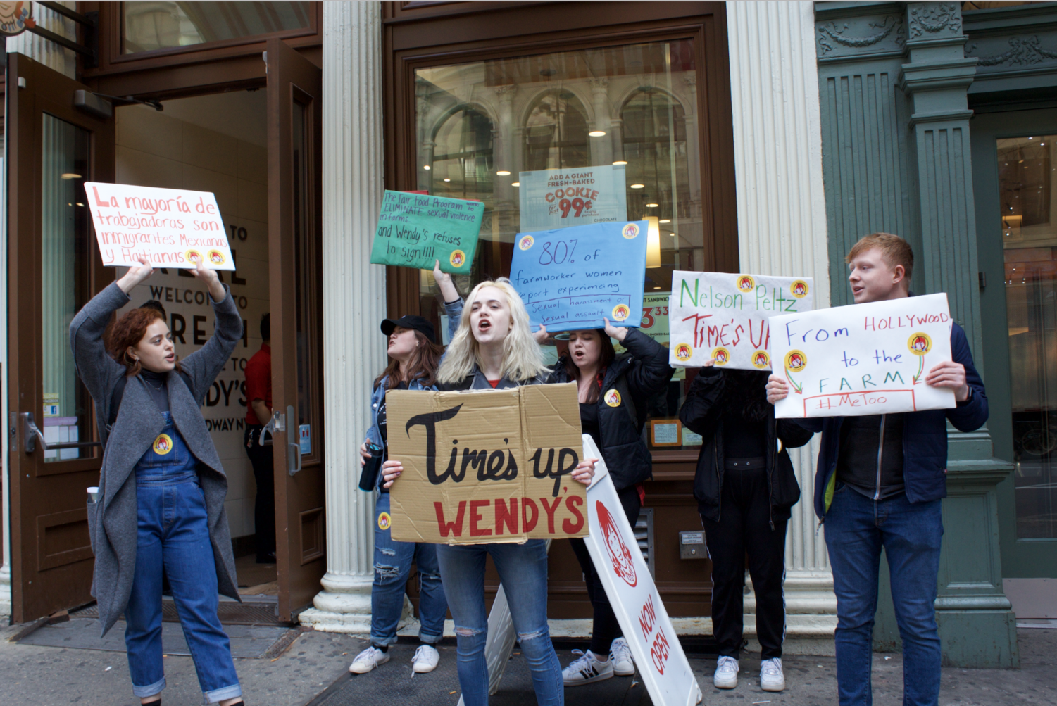 A student led protest at the Wendy's on Broadway.
