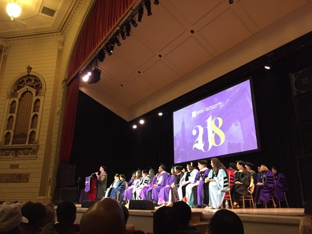 President+Andrew+Hamilton+addresses+graduates+and+their+families+at+the+College+of+Global+Public+Health+commencement+ceremony+held+in+The+Town+Hall+in+midtown.