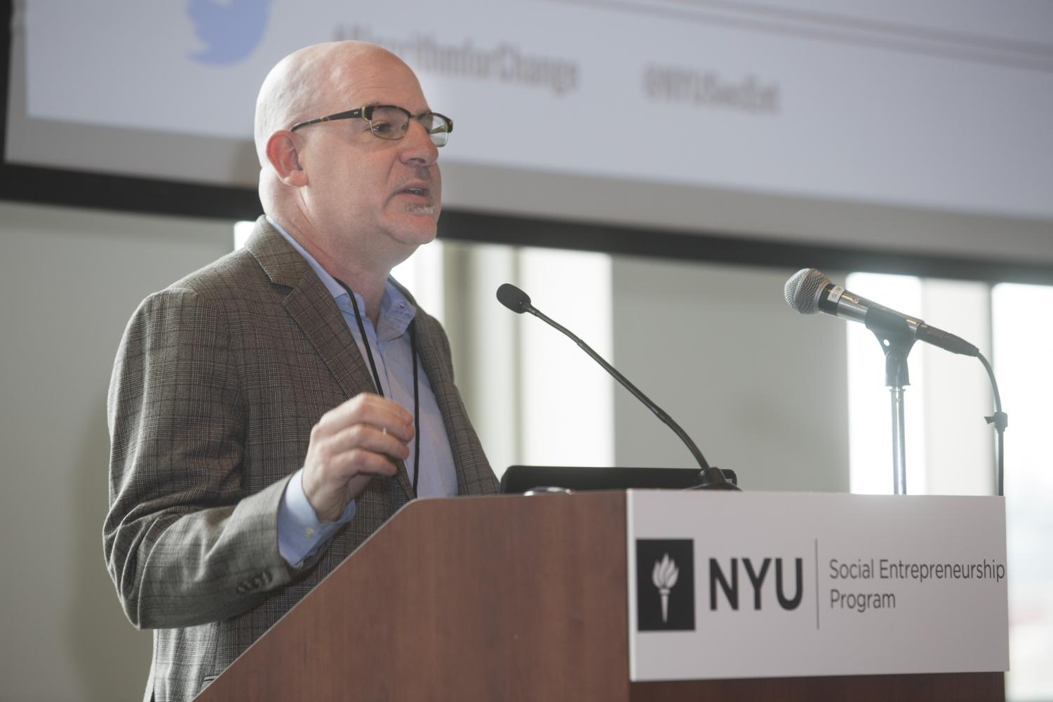 Gabriel Brodbar, the director of the NYU Social Entrepreneurship Program, speaks at the event.