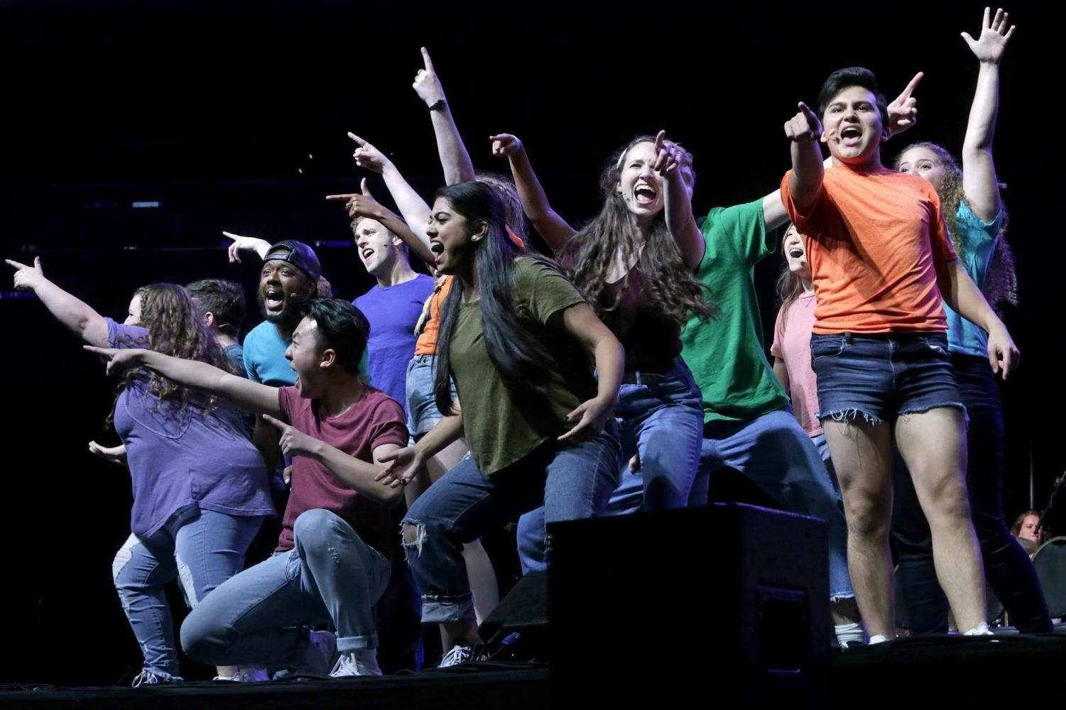 Students performing in the annual Reality Show at Barclays Center.