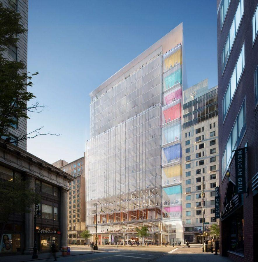 Rendering+of+the+new+tech+hub+that+would+sit+between+Palladium+Hall+and+University+Hall+on+14th+Street.