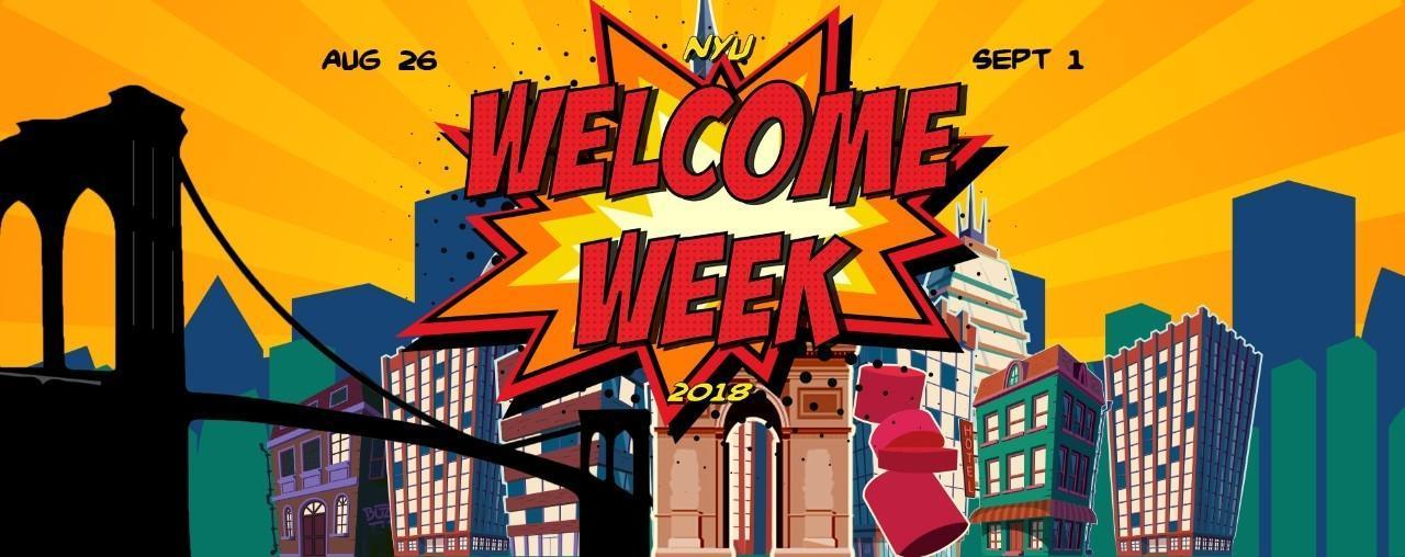 The 2018 NYU Welcome Week poster.