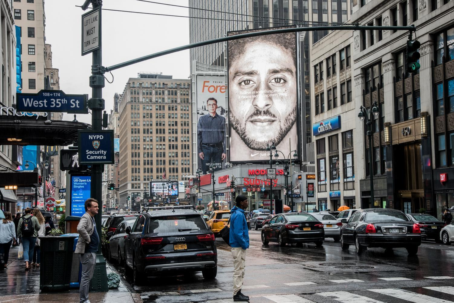 Nike recently unveiled a new series of advertisements, including this billboard of Colin Kaepernick by Madison Square Garden. The text over the image of Kaepernick, the NFL quarterback who started protesting police brutality in 2016, reads
