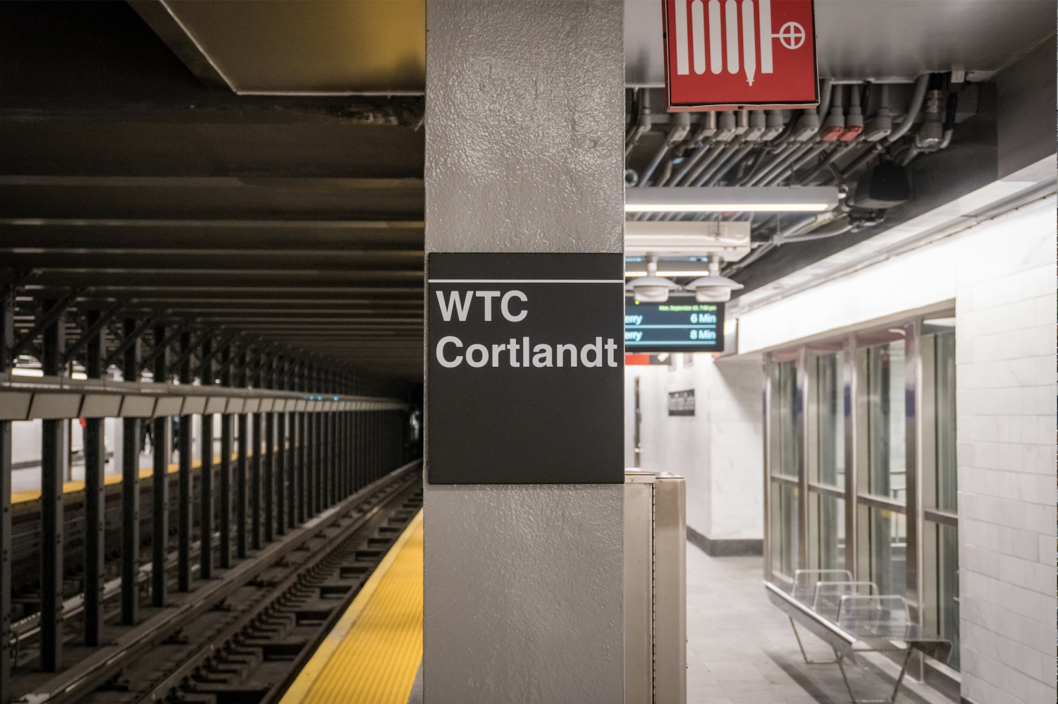 """The newly reopened station's new signs now read """"WTC Cortlandt."""""""