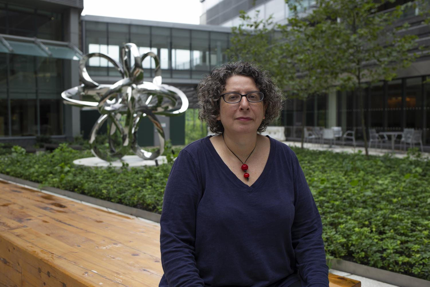 Dr. Anna Nolan in the courtyard of the new Science Building at NYU Langone.