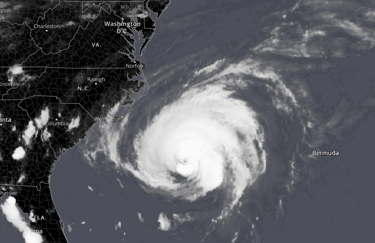 Satellite image showing Hurricane Florence approaching the East Coast.