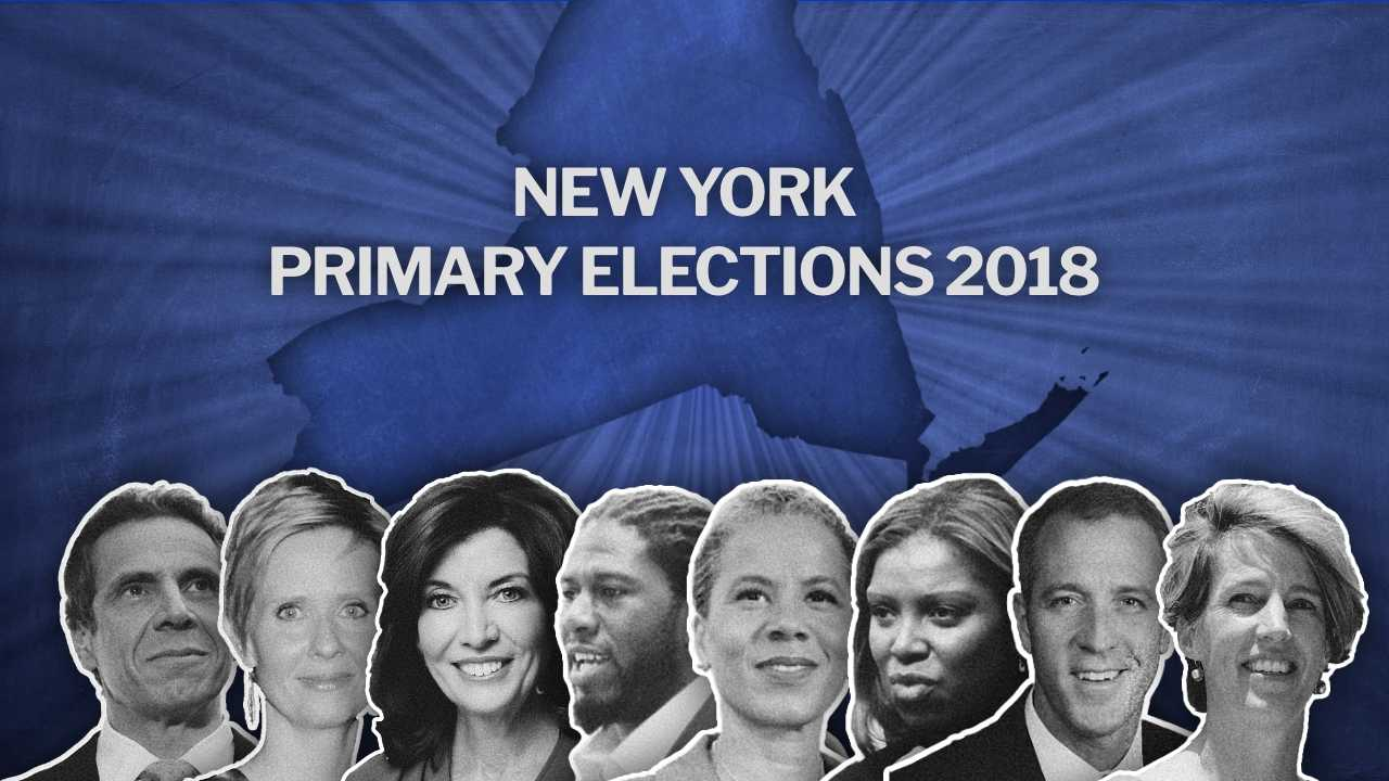 New York Primary Elections are happening tomorrow. Candidates, from left to right: Andrew Cuomo and Cynthia Nixon running for the state governor; Kathy Hochul and Jumaane Williams running for lieutenant governor; Leecia Eve, Letitia James, Sean Patrick Maloney and Zephyr Teachout running for attorney general.