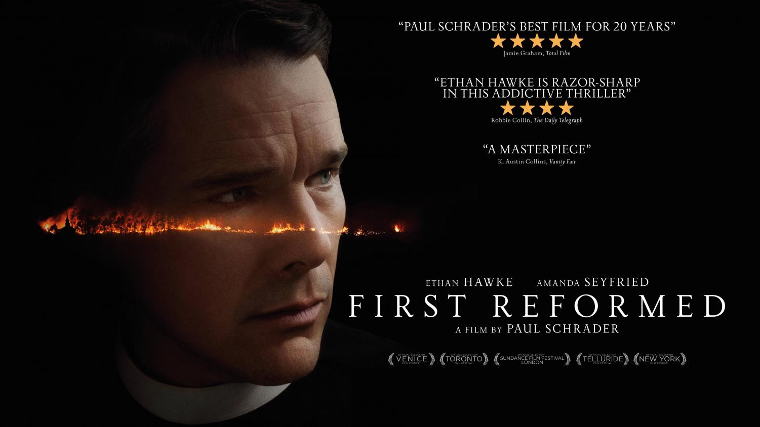 "The movie poster from ""First Reformed."""