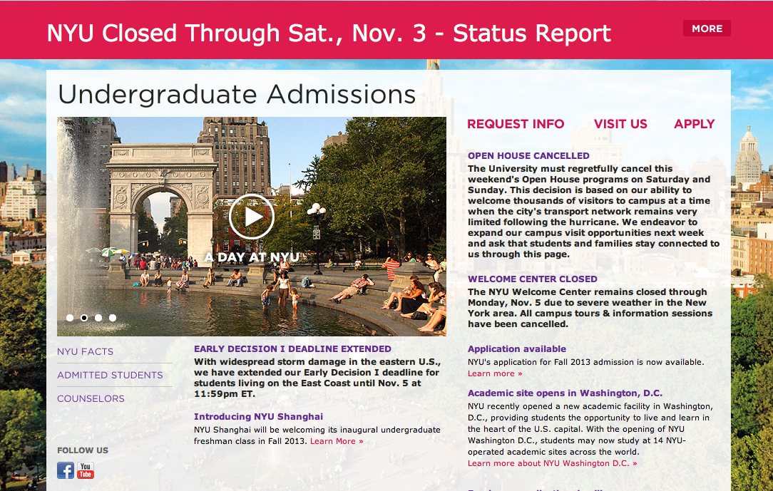 Power outages from Sandy push back admissions deadline